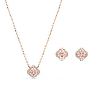 Swarovski Sparkling Dance Jewellery Set - Clover- Pink and Rose Gold Plated 5516488