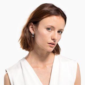 Swarovski Lifelong Heart Peirced Earring Drop - Rhodium Plated