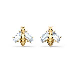 Swarovski Eternal Flower Bee Pierced Earrings - Gold-tone Plating