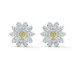 Swarovski Eternal Flower Daisy Stud Pierced Earrings - Rhodium Plated