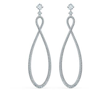 Swarovski Infinity Pierced Hoop Earrings - White - Rhodium Plated 5518878