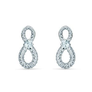 Swarovski Swan Infinity Pierced Earrings - Rhodium Plated - 5518880