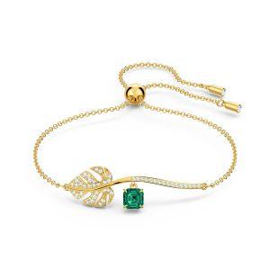 Swarovski Tropical Leaf Bracelet - Gold-tone Plating
