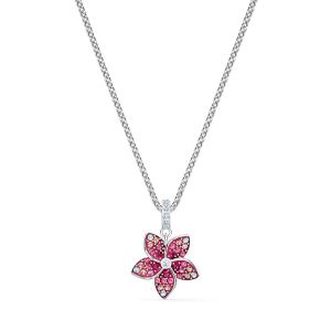 Swarovski Tropical Flower Pendant Necklace - Rhodium Plating