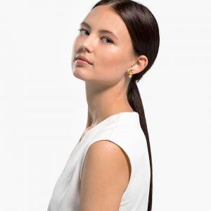 Swarovski Tropical Leaf Pierced Earrings - Gold-tone Plating