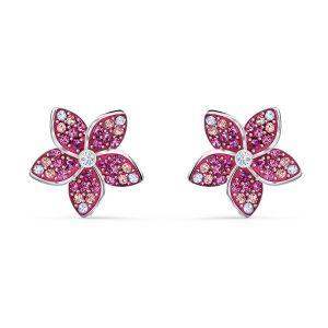 Swarovski Tropical Flower Pierced Earrings - Rhodium Plating