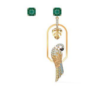 Swarovski Tropical Parrot Pierced Earrings - Gold-tone Plating