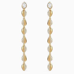 Swarovski Shell Cowrie Earrings - Gold Tone Plated