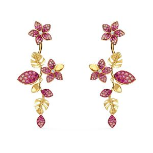 Swarovski Tropical Flower Drop Pierced Earrings - Gold-tone Plating
