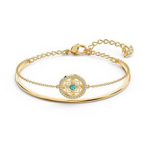Swarovski Symbolic Mandala Bangle - Green and Gold-Tone