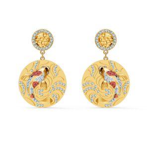 Swarovski Shine Koi Carp Fish Pierced Earrings - Gold Plated