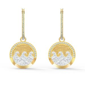Swarovski Gold-Tone Shine Wave Pierced Earrings