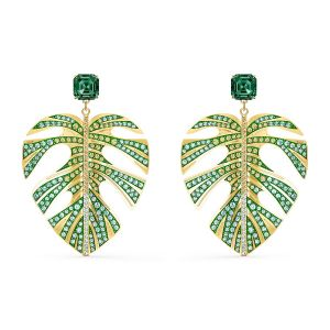 Swarovski Tropical Leaf Pierced Earrings - Green - Gold-tone Plating