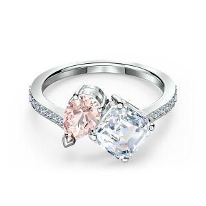 Swarovski Attract Soul Ring, Pink, Rhodium Plating
