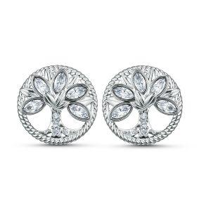 Swarovski Symbolic Tree of Life Stud Pierced Earrings - White - Rhodium- Plated