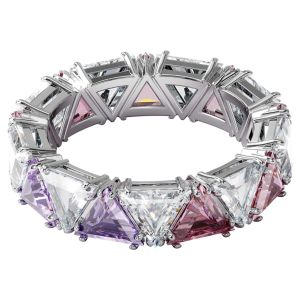 Swarovski Millenia Ring with Triangle Cut Crystals - Purple and White