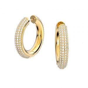 Swarovski Dextera Hoop Earrings - White with Gold Tone Plating 5618305