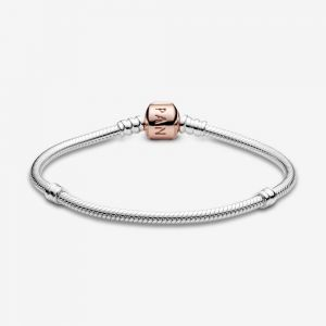 Pandora Rose Barrel Clasp Moments Snake Chain Bracelet-580702-16, 17, 18, 19, 20, 21