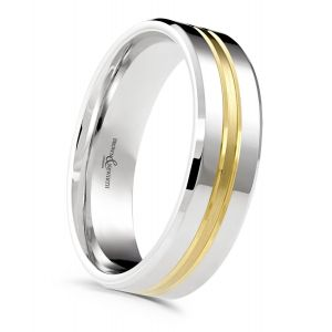 Brown & Newirth 'Fuse' Two Tone Wedding Band, For Him