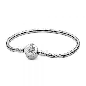 Pandora Moments Sparkling Crown O Snake Chain Bracelet-599046c01-17, 18, 19, 20, 21