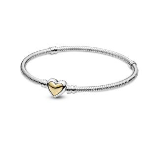 Pandora Domed Golden Heart Clasp Snake Chain Bracelet 599380C00