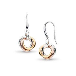 Kit Heath Bevel Trilogy Gold & Rose Gold Drop Earrings 6169GRG