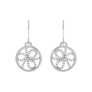 Les Georgettes Petales 16mm Silver and Zirconia Earrings