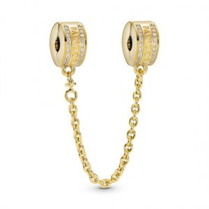 Pandora 14k Gold Plating Logo Safety Chain Clip Charm 768642c01-05