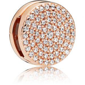 Pandora Reflexions Round Pavé Clip Charm - Rose Gold 787583CZ