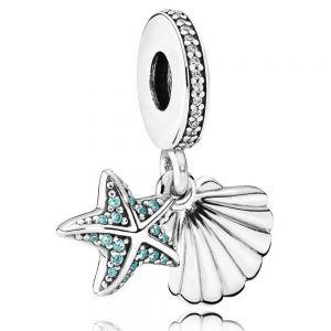 Pandora Starfish & Sea Shell Dangle Charm 792076CZF