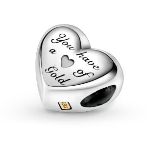 Pandora Domed Golden Heart Charm