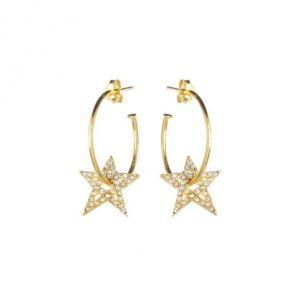 Annie Haak Clear crystal Star Hoop Gold Earrings E0173PR
