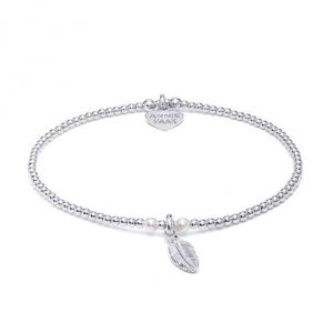 Annie Haak Bulu Silver Charm Bracelet - Pearl and Feather