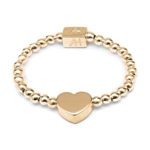 Annie Haak Dainty Boxed Heart Gold Ring R0300