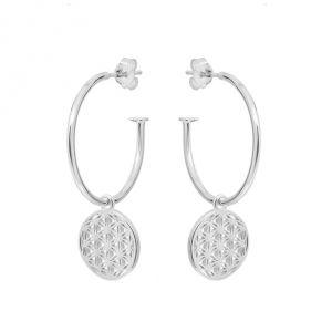Annie Haak Flower of Life Hoop Silver Earings-E0272