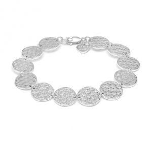Flower of Life Silver Linked Bracelet B2083-18