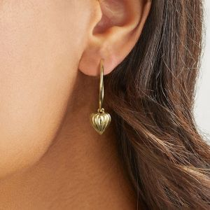 Annie Haak Lined Heart Gold Hoop Earrings