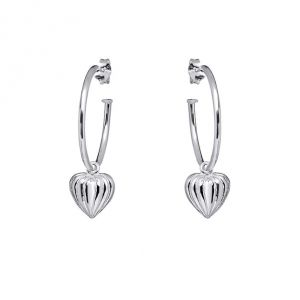 Annie Haak Lined Heart Silver Hoop Earrings