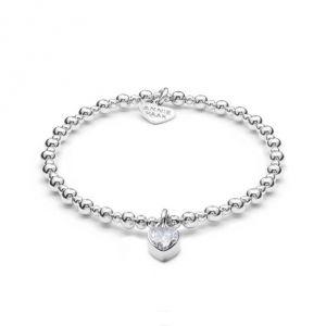 Annie Haak Mini Orchid Silver Charm Bracelet - Crystal Heart