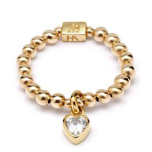 Annie Haak Mini Charm Gold Ring - Crystal Heart R0108