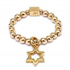 Annie Haak Mini Charm Gold Ring - Open Star R0110