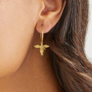 Annie Haak My Guardian Angel Silver Hoop Earrings E0151
