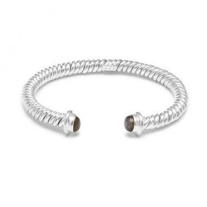 Open Twirl Labradorite Silver Bangle B2076