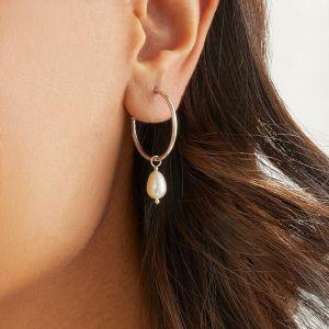 Annie Haak Pearl Drop Hoop Silver Earings-E0262