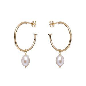 Annie Haak Pearl Drop Hoop Earrings Gold E0263
