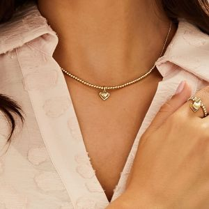 Santeenie Gold Charm Necklace - Solid Heart N0529