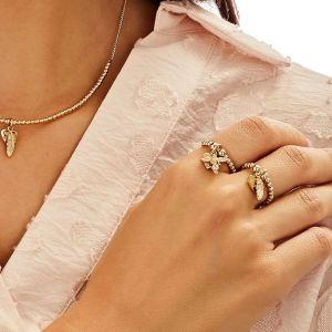 Annie Haak Santeenie Gold Charm Ring - Feather