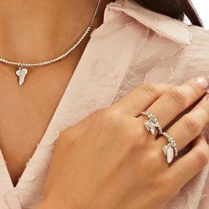 Annie Haak Santeenie Silver Charm Ring - Feather
