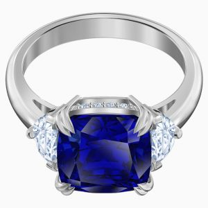 Swarovski Attract Cocktail Ring, Blue, Rhodium Plating