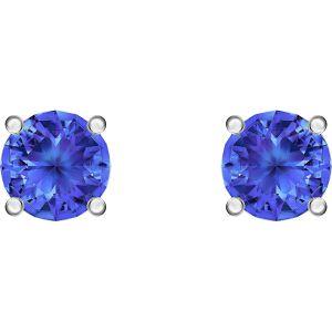 Swarovski Attract Stud Pierced Earrings, Blue, Rhodium plated